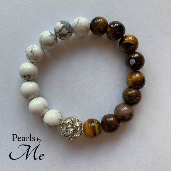 Tigerøje Armbånd To Farvet Pearls By Me